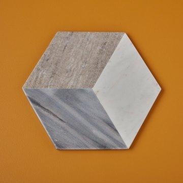 Geometric Marble Hexagon Board