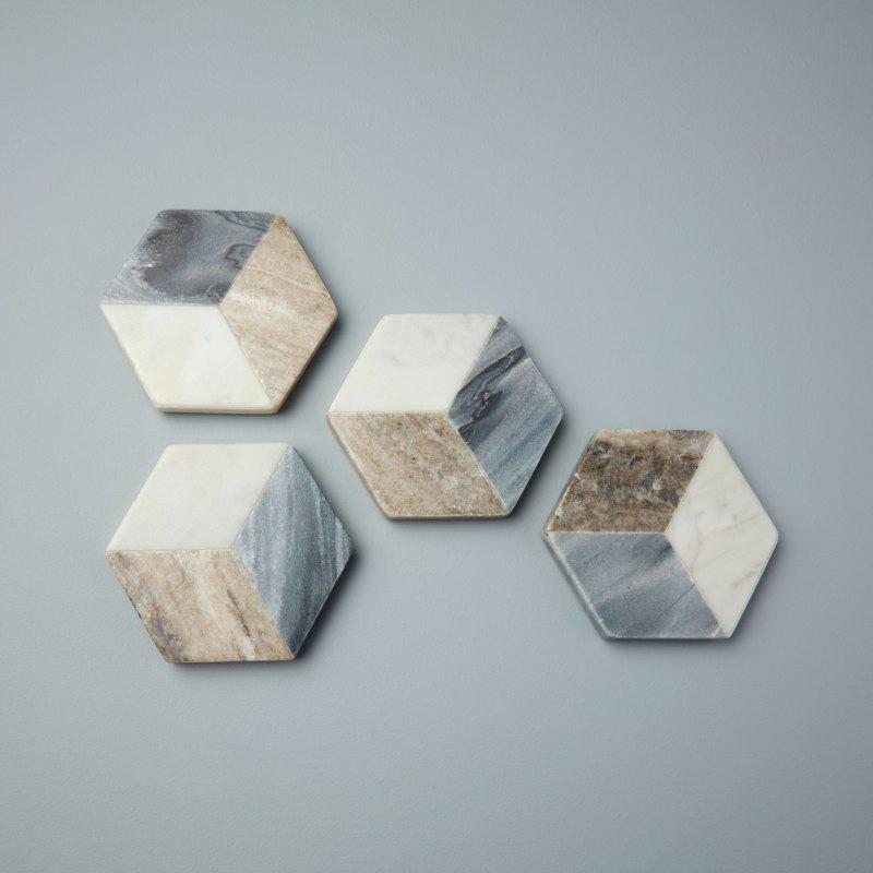 Geometric Marble Hexagon Coasters, Set of 4