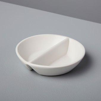Tan Rim Stoneware Colander Basket with Handle