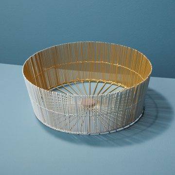 White & Gold Wire Round Basket