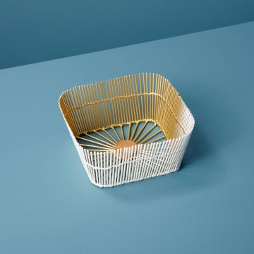 White & Gold Wire Square Basket