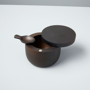 Ebony Teak Cellar with Spoon & Pivoting Lid