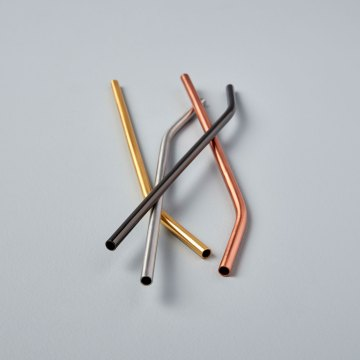 Matte Metallic Stainless Bent Straws, Set of 4 Assorted Colors in gift box