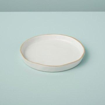 Tan Rim Stoneware Plate, Small