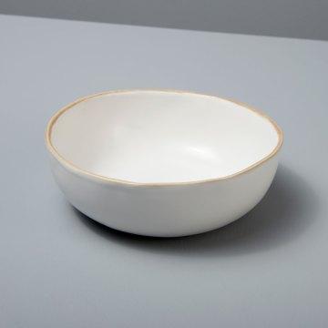 Tan Rim Stoneware Side Bowl