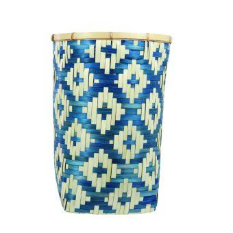 Diamond Weave Bamboo Basket Large, Tan