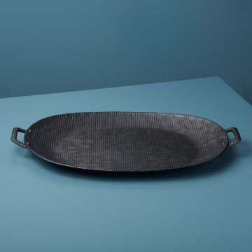 Crosshatch Aluminum Tray with Handles