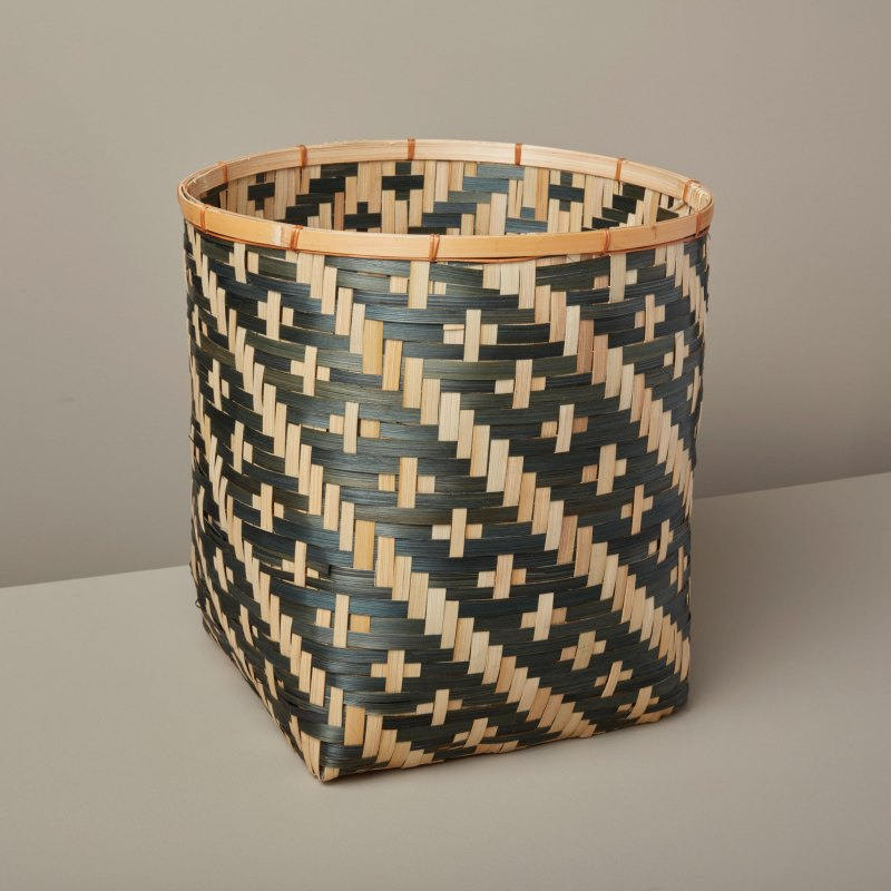 Diagonal Stripe Bamboo Basket Small, Black