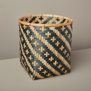 Diagonal Stripe Bamboo Basket Small, Black