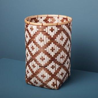 Diamond Weave Bamboo Basket Small, Blue