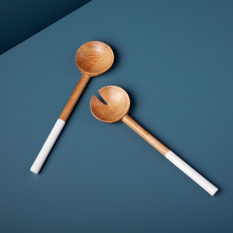 Mango Wood & White Enamel Traditional Serving Set
