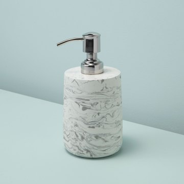 Marbled Cement Soap Dispenser, Gray