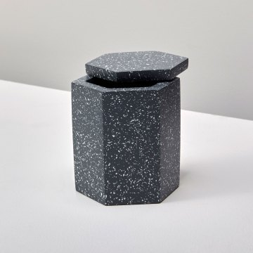 Speckled Cement Bath Canister, Slate