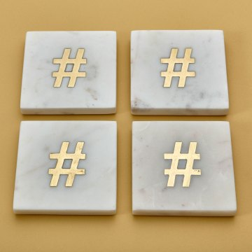 """White Marble & Gold Coasters, Set of 4, """"#"""""""