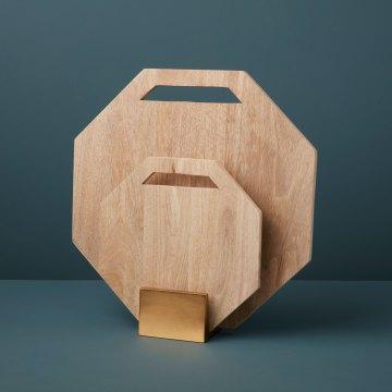Geometric Raw Mango Wood Boards with Gold Stand