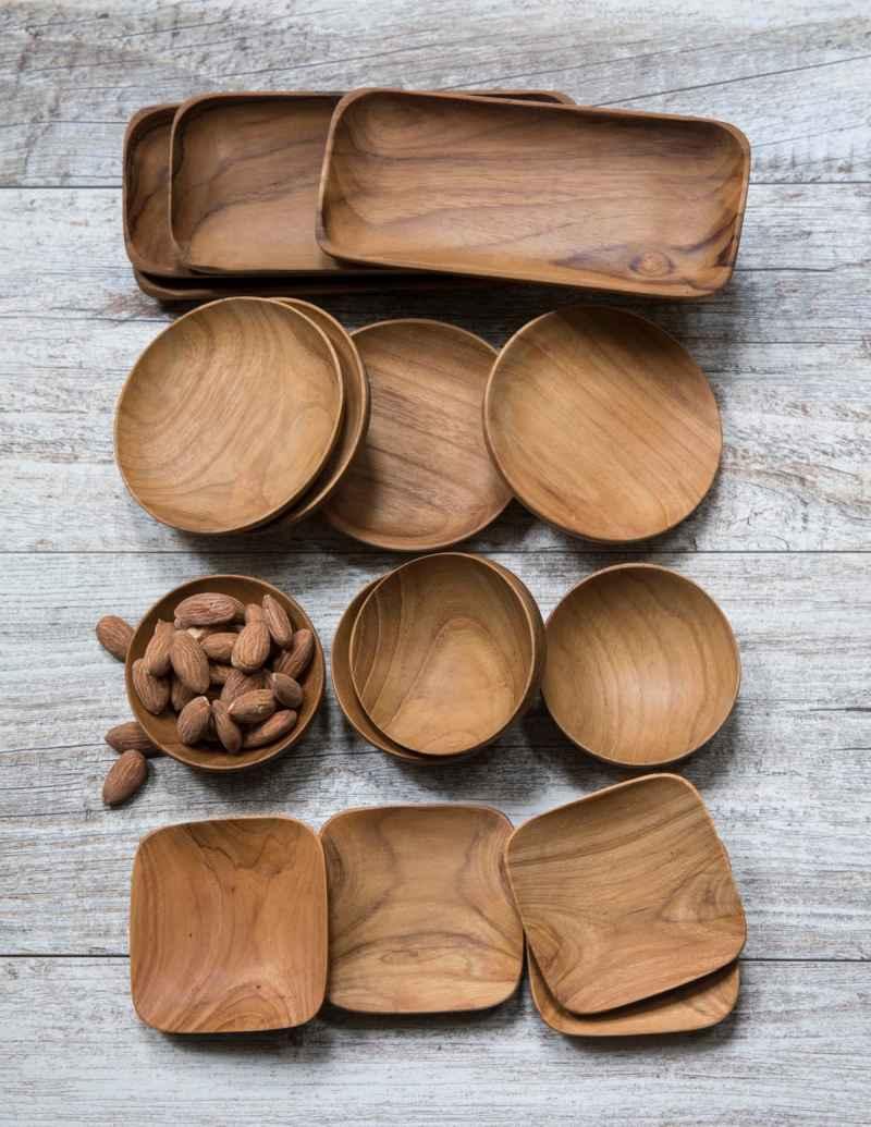 Teak Rectangular Trays Set of 4