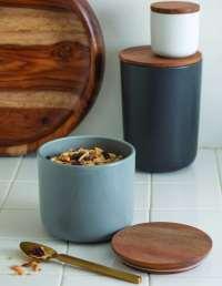 Stoneware Container with Acacia Lid, Storm, Medium 2