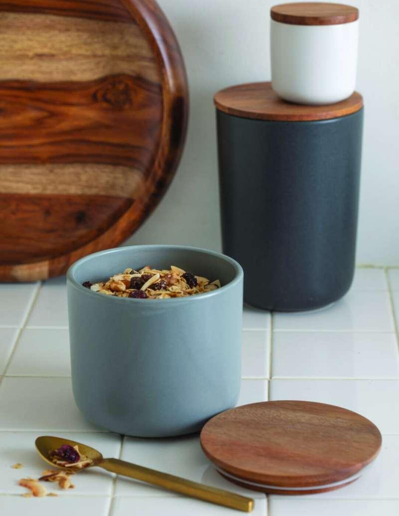 Stoneware Container with Acacia Lid, Storm, Medium