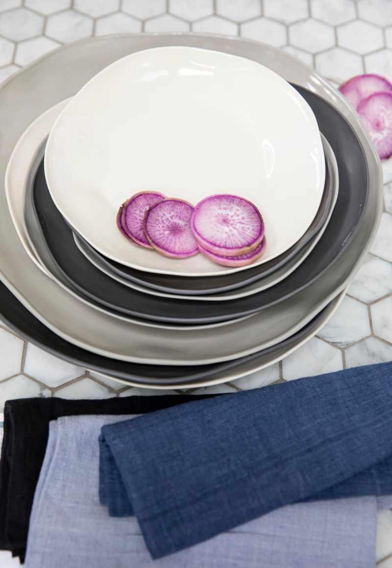 Stoneware Flat Plate Slate Large