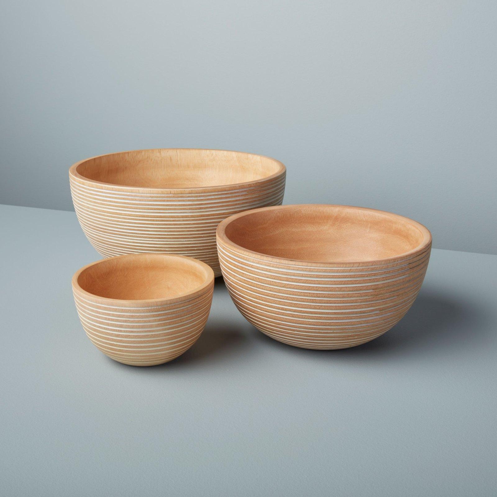White Striped Mango Wood Bowl Medium