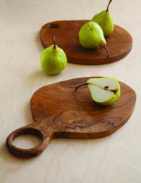 Teak Oval Board with Handle Large 2