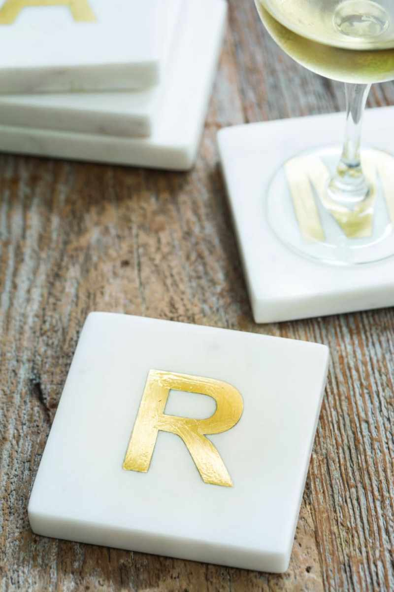 White Marble with Gold Monogram Coasters, S/4 Letter J
