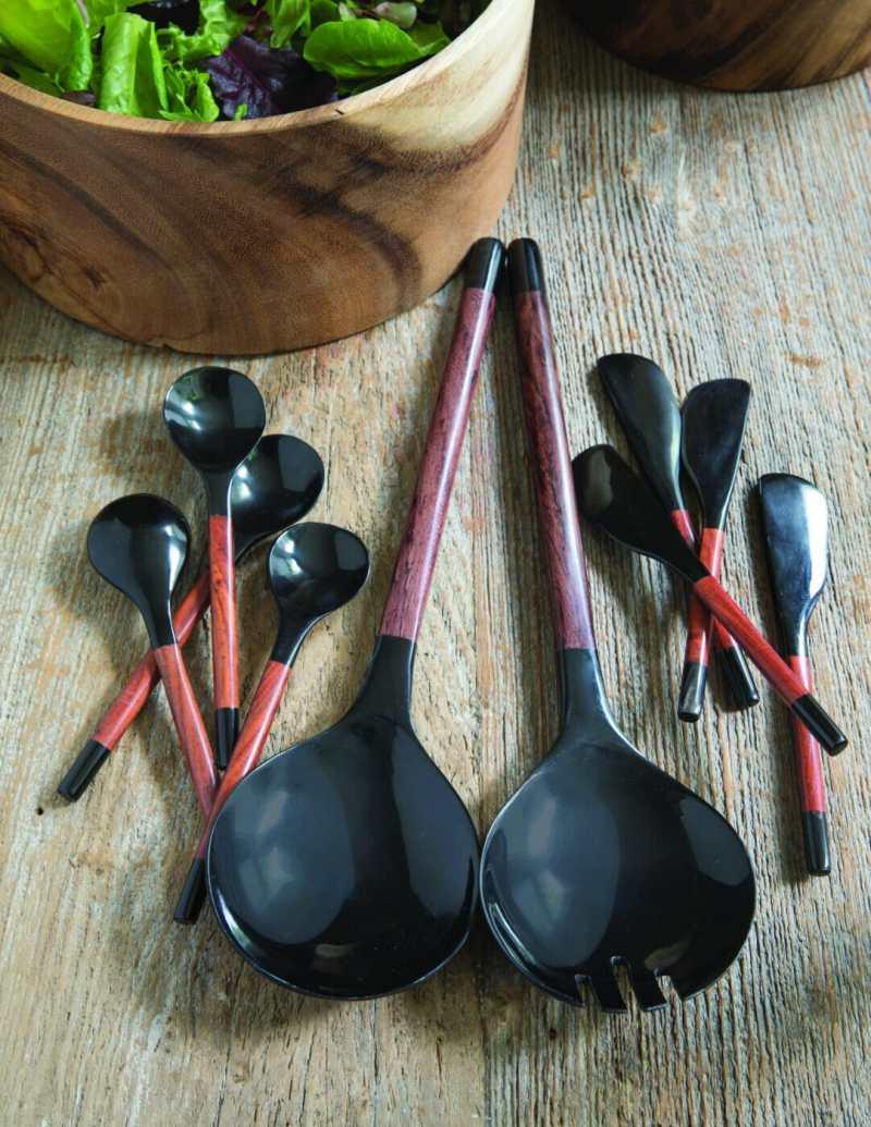 Black Horn & Red Wood Spoons, Medium Set of 4