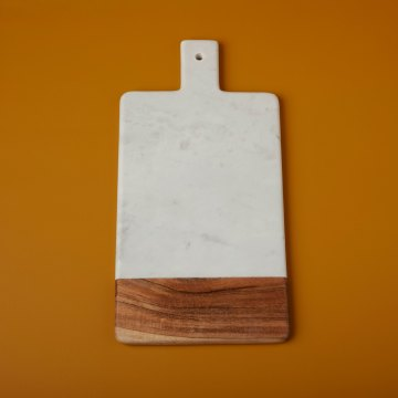 White Marble & Acacia Wood Rectangular Handled Board