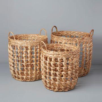 Water Hyacinth Baskets, Set of 3