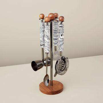 Zebra Marble & Wood Onyx Hanging Bar Set