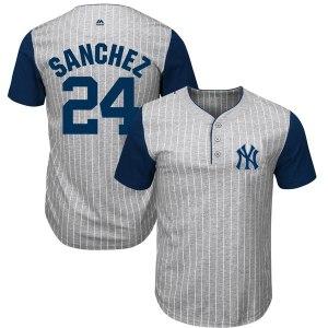 Men's New York Yankees Gary Sanchez Majestic Gray/Navy Big & Tall Pinstripe Player T-Shirt