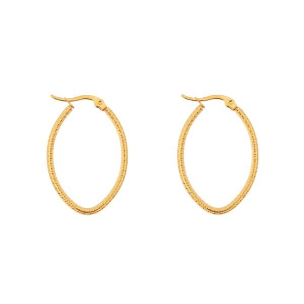 Earrings hoops oval basic small pattern gold