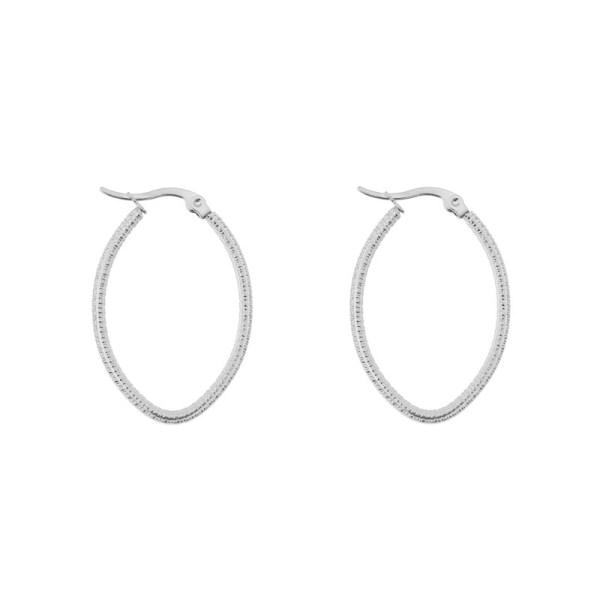 Earrings hoops oval basic small pattern silver