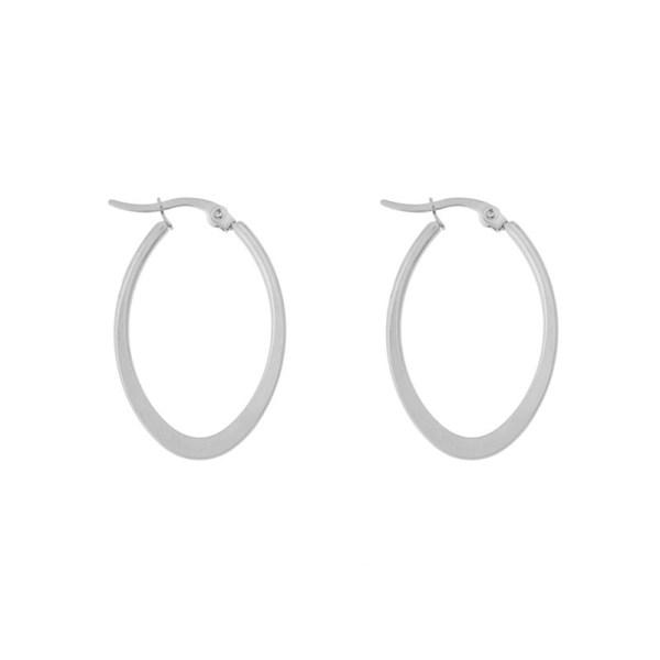Earrings hoops oval statement small silver