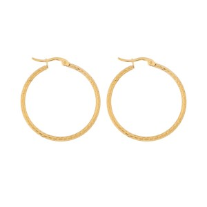 Earrings hoops round basic pattern gold