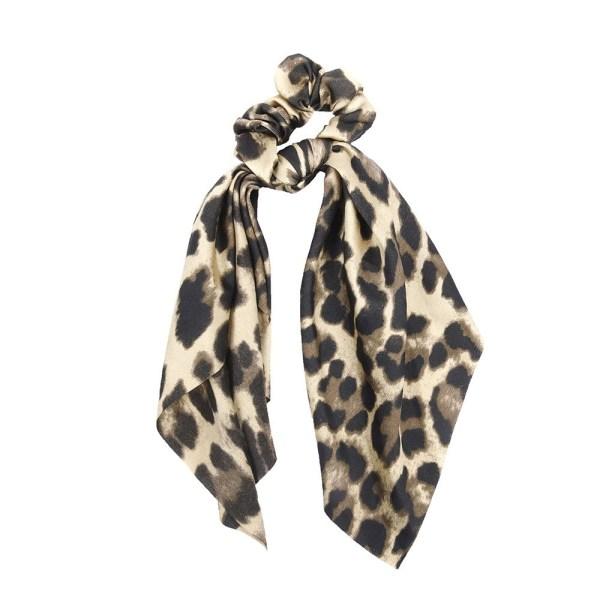 Scrunchie ribbon leopard light brown