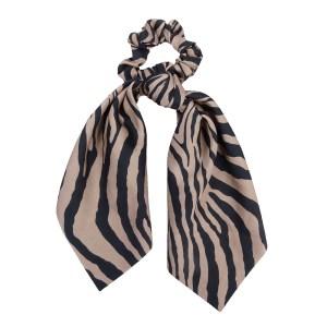 Scrunchie ribbon zebra brown