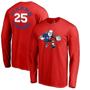 Men's Philadelphia 76ers Ben Simmons Fanatics Branded Red Round About Name & Number Long Sleeve T-Shirt