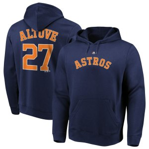 Men's Houston Astros Jose Altuve Majestic Navy Authentic Name & Number Pullover Hoodie