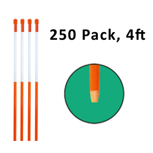"""Reflective Driveway Markers 4"""" Orange 250-Pack"""