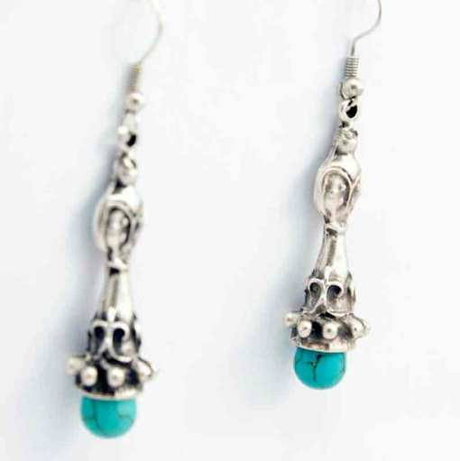 Turquoise and silver earrings.