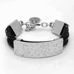 Balck leather bracelet wholesale