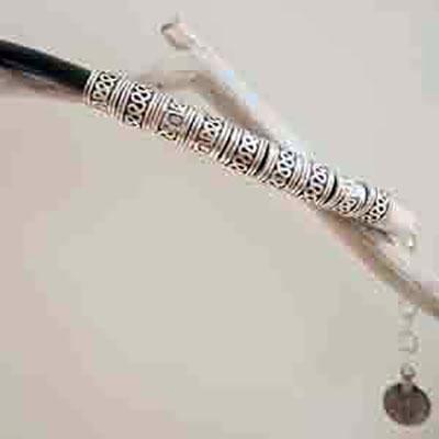 Black band silver bracelet