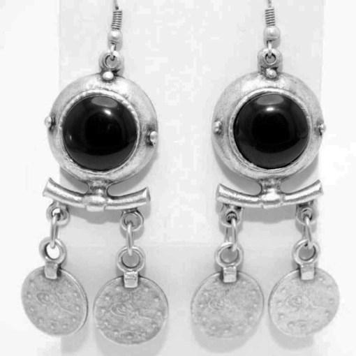Black rock coin earrings