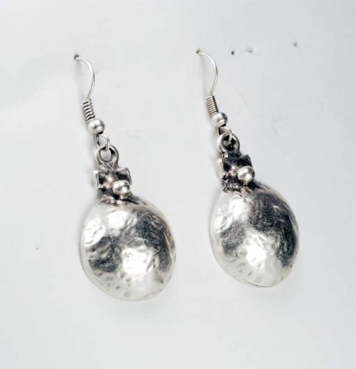 Silver cup earrings