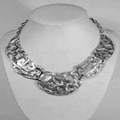 Battered silver necklace