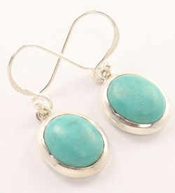 tibaetan turquoise silver earrings