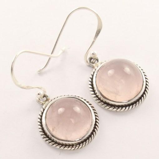 Button rose quartz earrings