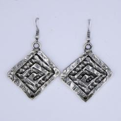 Silver square symbol earrings