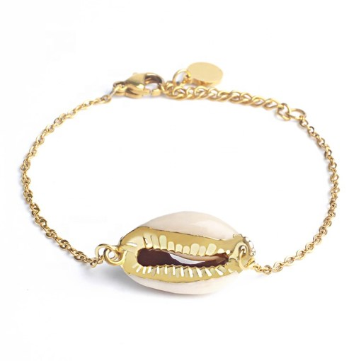 Wholesale cowrie shell gold plated anklet